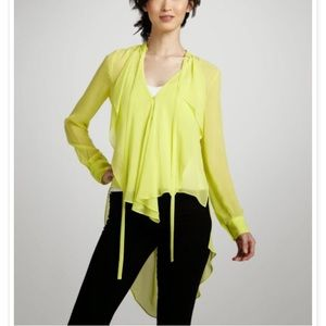 BCBG Max Azria yellow button front ruffle blouse